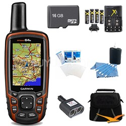 GPSMAP 64s Worldwide Handheld GPS 1 Year BirdsEye 16GB Accessory Bundle