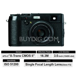 X100T HD 16.3MP 1080p Black Compact Digital Camera - OPEN BOX
