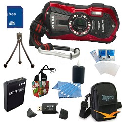 Optio WG-2 Waterproof Digital Camera - Red 8 GB Bundle