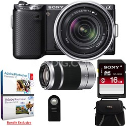 NEX-5N 16 Megapixel Compact Camera w/ 18-55, 55-210 Lenses (Black) Adobe Bundle
