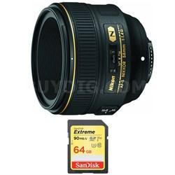 AF-S NIKKOR 58mm f/1.4G Lens and 64GB Card Bundle
