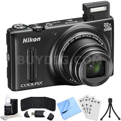 COOLPIX S9600 16MP Digital Camera w/ 22x Opt. Zoom (Black) Refurbished Bundle