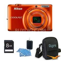 COOLPIX S6500 16 MP Digital Camera with 12x Zoom 8 GB Bundle (Orange)