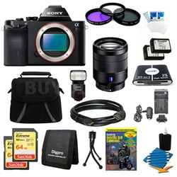 Alpha 7R a7R Digital Camera 24-70mmLens, 2 64GB Cards, 2 Batteries, Flash Bundle
