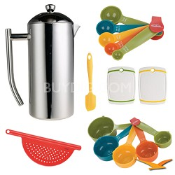 Polished Stainless French Press  36oz Deluxe Bundle