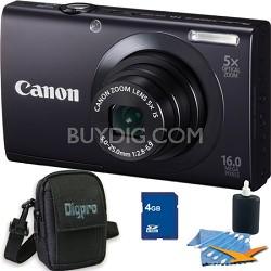 PowerShot A3400 IS 16MP Black Digital Camera 4GB Bundle