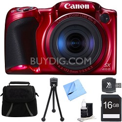Powershot SX410 IS Red Digital Camera and 16GB Card Bundle