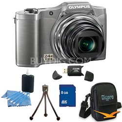 8 GB Kit SZ-12 14MP 3.0 LCD 24x Opt Zoom Digital Camera - Silver