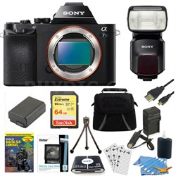 ILCE-7S/B a7S Full Frame Camera 64GB SDXC Card, Battery & Flash Bundle