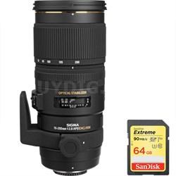70-200mm f/2.8 APO EX DG HSM OS FLD Lens f/Nikon DSLR Cam w/ 64GB Memory Card
