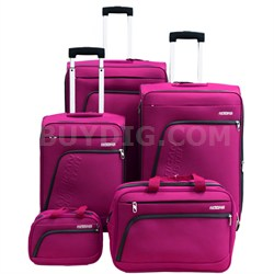 """Glider 5Pc Spinner Luggage Set 28"""", 24"""", 20"""", Boarding & Toiletry Bag - Purple"""