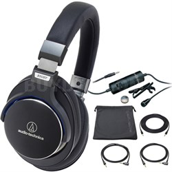 SonicPro Over-Ear High-Res. Audio Headphones Black ATH-MSR7BK with Microphone