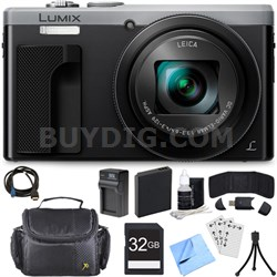 ZS60 LUMIX 4K 18 MP Digital Camera with Wi-Fi - Silver (DMC-ZS60S) 32GB Bundle