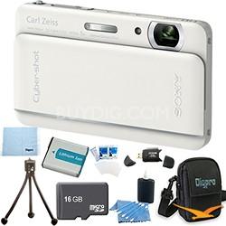 "Cyber-shot DSC-TX66 18.2 MP CMOS Camera 5X Zoom 3.3"" OLED White 16 GB Memory Kit"
