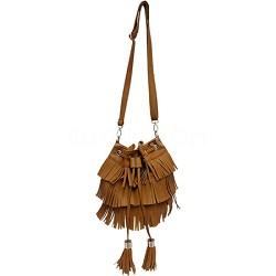 Shaggy Fringe Crossbody Small Bucket Bag (Peanut Butter Brown)