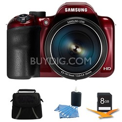 WB1100F 16.2MP 720p HD Video Smart Digital Camera Red 8GB Kit