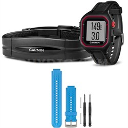Forerunner 25 GPS Fitness Watch w/ Heart Rate Monitor Large Red - Blue Bundle
