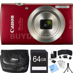 PowerShot ELPH 180 20MP 8x Optical Zoom HD Red Digital Camera 64GB Card Bundle