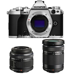 OM-D E-M5 Mark II Silver Digital Camera with 14-42mm and 40-150mm Lens Bundle