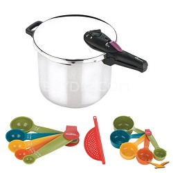 Splendid 10 Qt. Stainless Steel Pressure Cooker, Measuring Sets, Drainer Bundle
