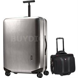 "Inova Luggage 20"" Hardside Spinner (Silver) Plus Wenger Laptop Boarding Bag"