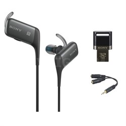 Sport Bluetooth In-Ear Headset - Black w/ 32GB Flash Drive Bundle