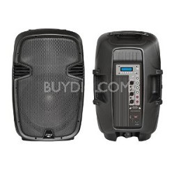 "PPHP123MU 12"" 800 Watt Powered Two-Way PA Speaker with MP3/USB/SD/3.5mm Input"