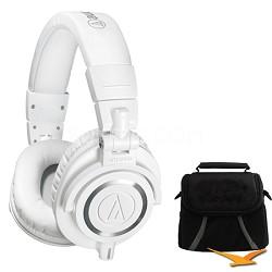 ATH-M50X Professional Studio Headphones (White) Deluxe Bundle