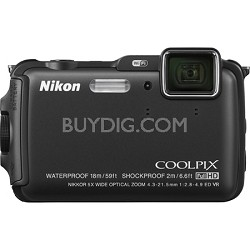 COOLPIX AW120 16MP 1080p Waterproof Shockproof Freezeproof Black Digital Camera