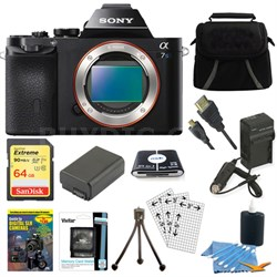 ILCE-7S/B a7S Full Frame Camera 64GB SDXC Card & Battery Bundle