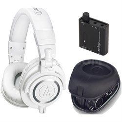 ATH-M50X Professional Studio White Headphone w/ Slappa Case + Fiio Amp Bundle