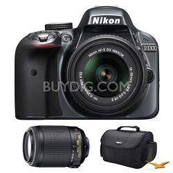 D3300 DSLR HD Grey Camera, 18-55mm Lens, 55-200mm Lens and Case Bundle