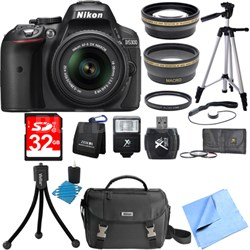 D5300 DX-Format Digital SLR Black w/ 18-55mm DX VR II Lens Deluxe Bundle