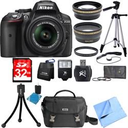 D5300 DX-Format Digital SLR Black w/ 18-55mm DX VR II Lens Deluxe Bundle