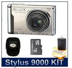 "Stylus 9000 12MP 2.7"" LCD Digital Camera (Champagne) value Bundle"