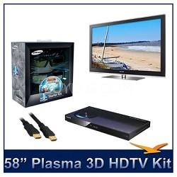"PN58C7000 - 58"" 3D 1080p Plasma HDTV w/ 3D Glasses & Blu-Ray Player"