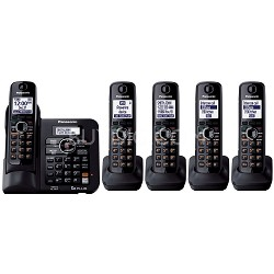 KX-TG6645B DECT 6.0 Cordless Phone with Answering System, Black, 5 Handsets -