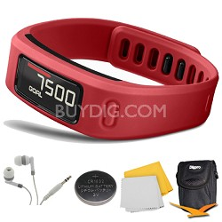 Vivofit Bluetooth Fitness Band (Red) (010-01225-08) Deluxe Bundle