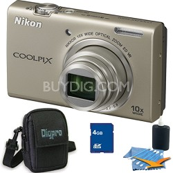 COOLPIX S6200 Silver 10x Zoom 16MP Camera 4GB Bundle