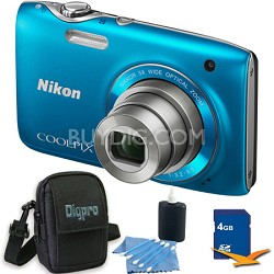 COOLPIX S3100 14MP Blue Compact Digital Camera 4GB Bundle