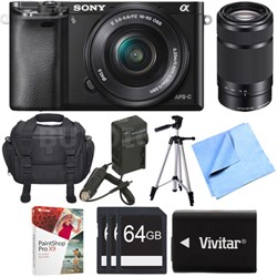 Alpha a6000 24.3MP Mirrorless Camera w/ 16-50mm and 55-210mm Lenses Bundle Deal