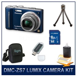 DMC-ZS7A LUMIX 12.1 MP Digital Camera (Blue), 8GB SD Card, and Camera Case