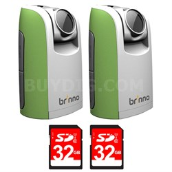 2-Pack Time Lapse & Stop Motion HD Video Camera w/ 2-Pack 32GB Memory Card