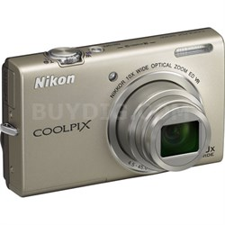 COOLPIX S6200 Silver 10x Zoom 16MP Digital Camera - Manufacturer Refurbished