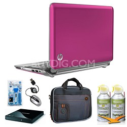 "Mini 10.1"" 210-2160NR Pink Netbook Essentials and Optical Drive Bundle"