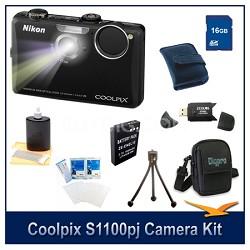 COOLPIX S1100pj Black Digital Camera 16GB Kit w/ Reader, Case, Battery, & More