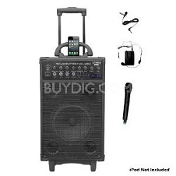 PWMA1090UI 800 Watt Wireless Rechargeable Portable PA System with iPhone/iPod Do