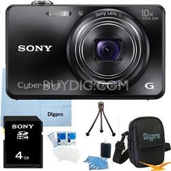 Cyber-shot DSC-WX150 18.2 MP 10x Optical HD Video Camera (Black) 4GB Bundle