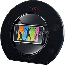 Rotating Speakerphone Docking Station with Clock for iPhone/iPod (Black)