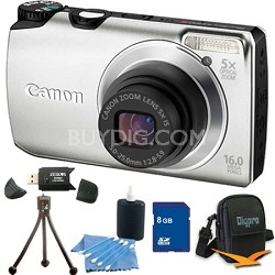 PowerShot A3300 IS 16MP Silver Digital Camera 8GB Bundle